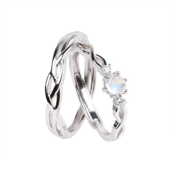 Couple Jewelry Moonstone Ring in White Gold Plated Silver Engage Ring Women Men