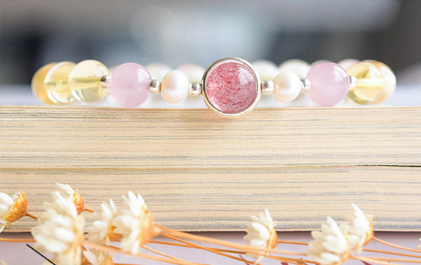 Citrine Strawberry Quartz Beaded Bracelet Handmade Jewelry Women