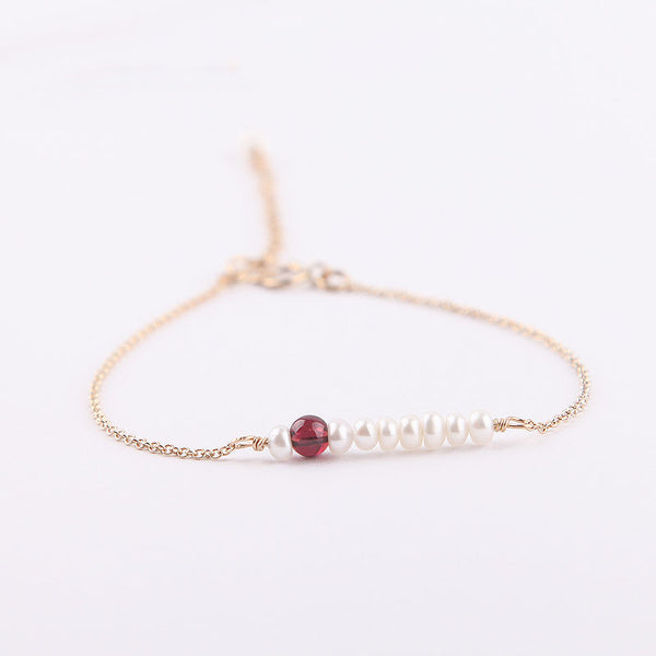 Womens 14K Gold Pearl Garnet Beaded Bracelets Birthstone Jewelry For Women