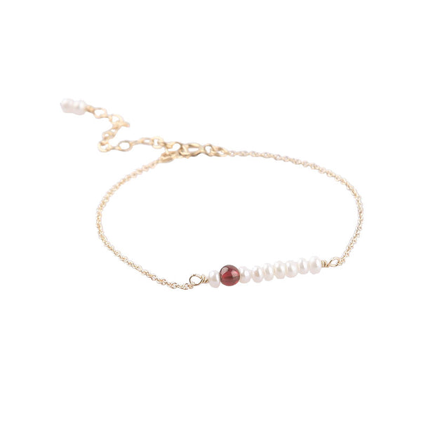 14K Freshwater Pearl Garnet Beads Bracelets Birthstone Jewelry Womens Gemstone Accessories for Women