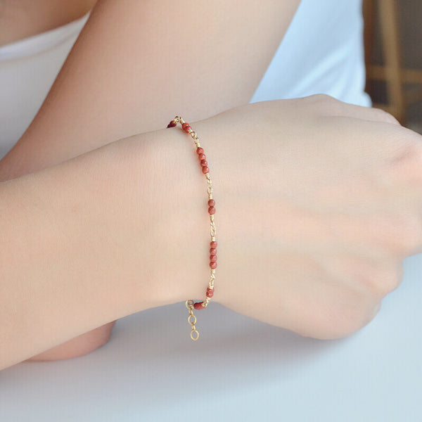 14K Gold Bracelet with Tiny Red Agate Gemstone Jewelry Accessories Gift for Women