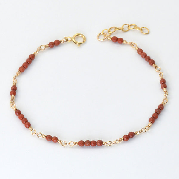 14K Gold Bracelet Agate Gemstone Jewelry Accessories Gift Women tiny