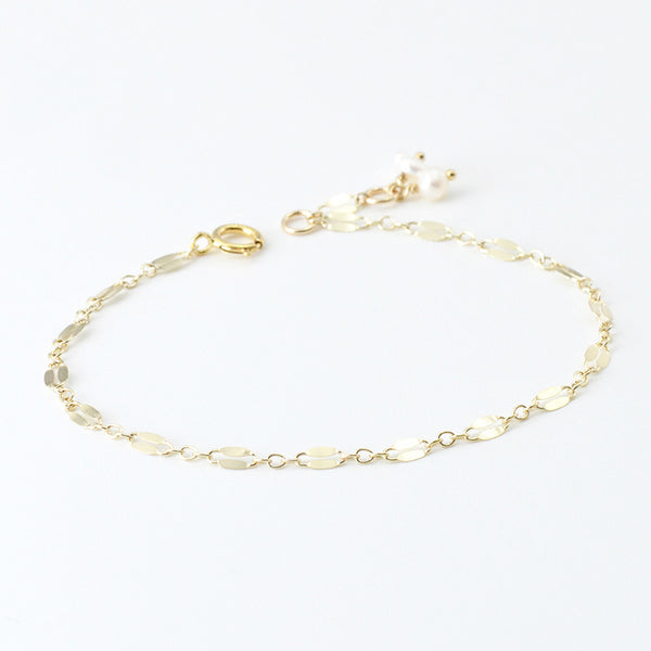 14K Gold Bracelet Pearl Handmade Jewelry Accessories Women