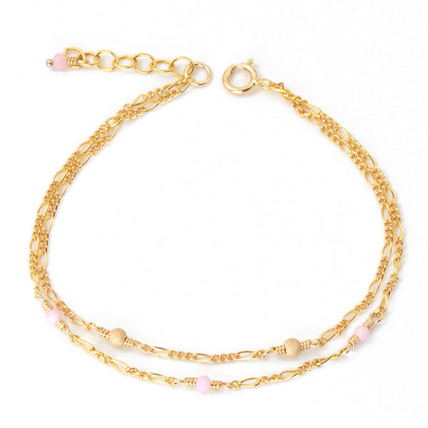 14K Gold Bracelet Tiny Rose Quartz Crystle Jewelry Accessories Women adorable