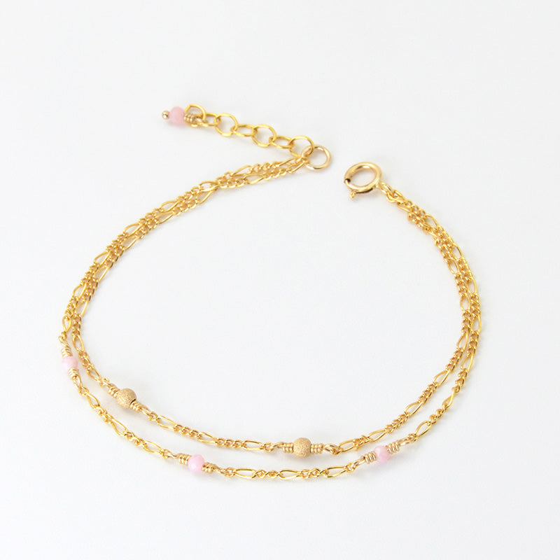 14K Gold Bracelet Tiny Rose Quartz Crystle Jewelry Accessories Women
