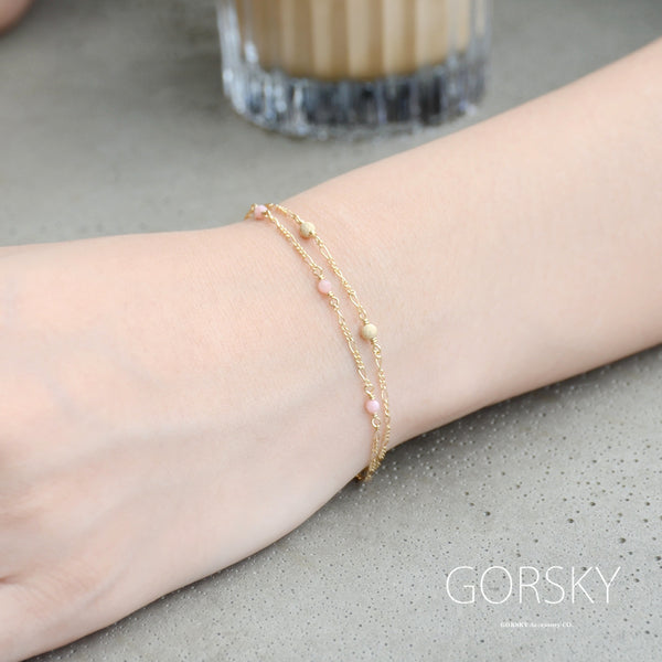 14K Gold Bracelet Tiny Rose Quartz Crystle Jewelry Accessories Women charming