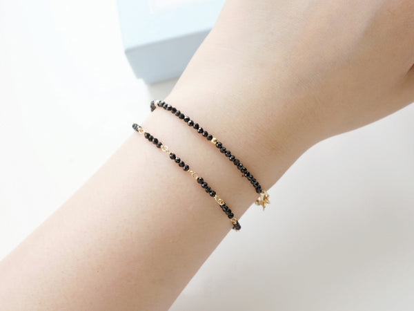 14K Gold Womens Black Spinel Beaded Bracelets Charm Bracelets for Women
