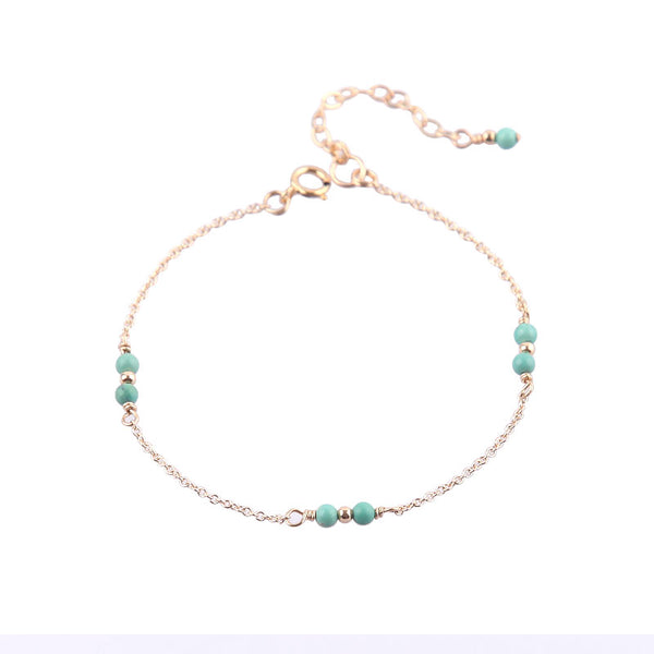 14K Turquoise Beads Bracelets December Birthstone Womens Gemstone Jewelry Accessories for Women