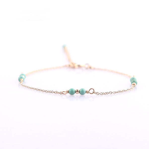 14K Turquoise Beads Bracelets December Birthstone Womens Gemstone Jewelry Accessories for Women adorable