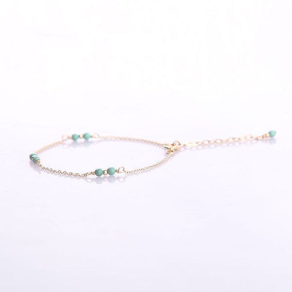 14K Turquoise Beads Bracelets December Birthstone Womens Gemstone Jewelry Accessories for Women chic