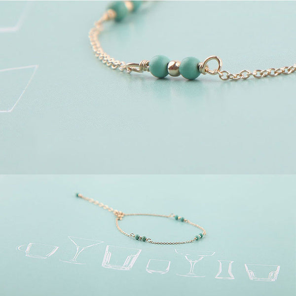 14K Turquoise Beads Bracelets December Birthstone Womens Gemstone Jewelry Accessories for Women cute