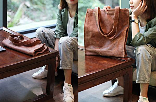 Brown Leather Womens Totes Vintage Handbags Shoulder Bag for Women