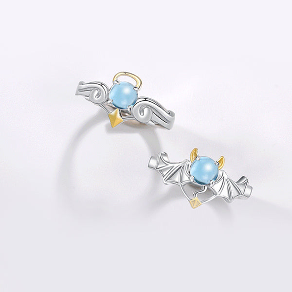 18K Gold Plated Silver Moonstone Or Topaz Ring Angel And Devil Couple Rings for Women and Men adorable