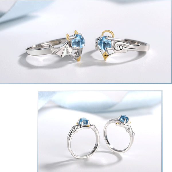 18K Gold Plated Silver Moonstone Or Topaz Ring Angel And Devil Couple Rings for Women and Men beautiful