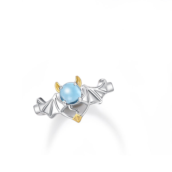 18K Gold Plated Silver Moonstone Or Topaz Ring Angel And Devil Couple Rings for Women and Men chic