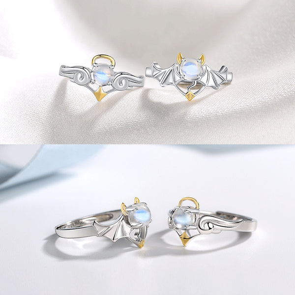 18K Gold Plated Silver Moonstone Or Topaz Ring Angel And Devil Couple Rings for Women and Men charm