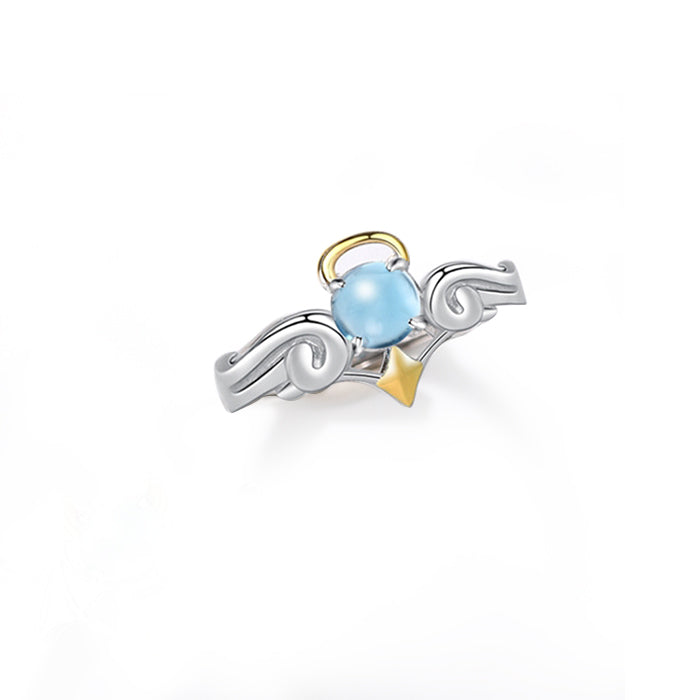 18K Gold Plated Silver Moonstone Or Topaz Ring Angel And Devil Couple Rings for Women and Men cool