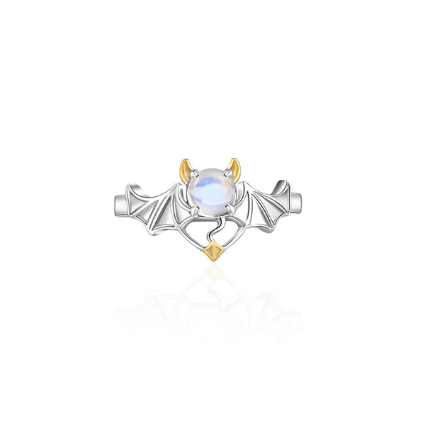 18K Gold Plated Silver Moonstone Or Topaz Ring Angel And Devil Couple Rings for Women and Men cute