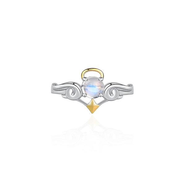 18K Gold Plated Silver Moonstone Or Topaz Ring Angel And Devil Couple Rings for Women and Men elegant