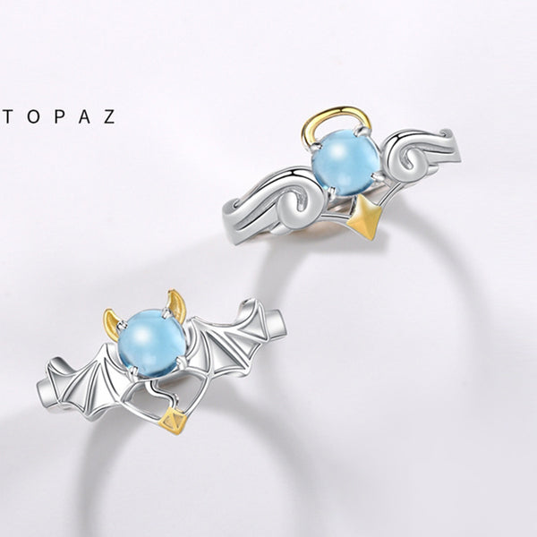 18K Gold Plated Silver Moonstone Or Topaz Ring Angel And Devil Couple Rings for Women and Men fashionable