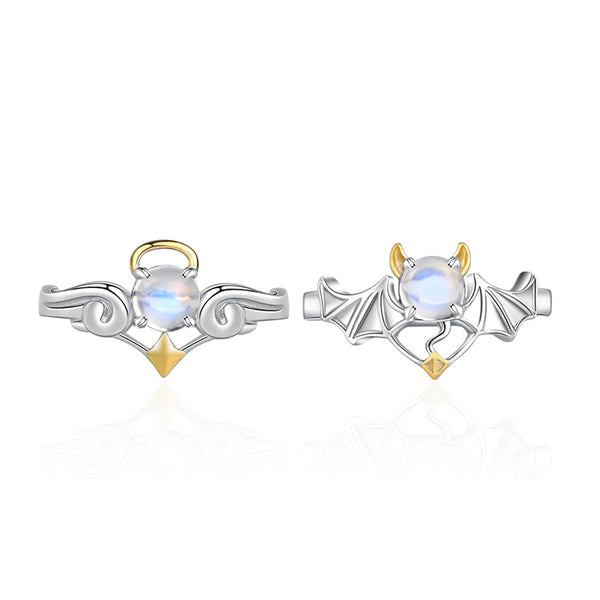 18K Gold Plated Silver Moonstone Or Topaz Ring Angel And Devil Couple Rings