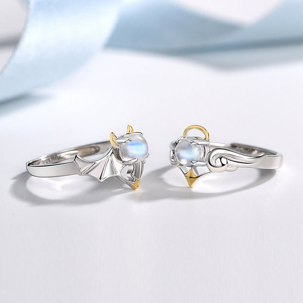 18K Gold Plated Silver Moonstone Or Topaz Ring Angel And Devil Couple Rings for Women and Men