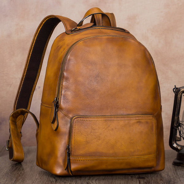 14 Inch Women's Leather Laptop Backpack Purse Book Bags for Women Brown