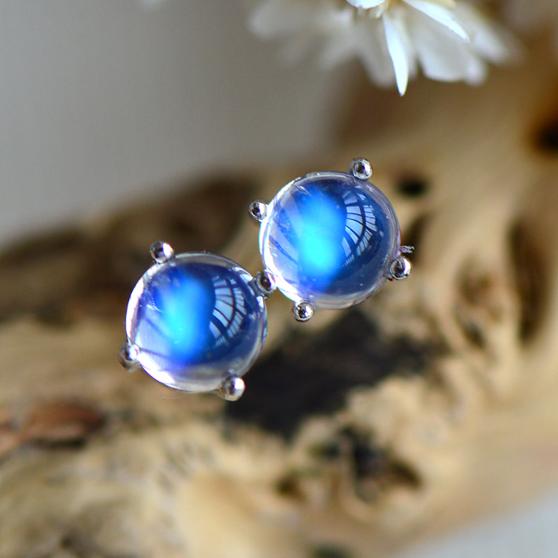 Moonstone Stud Earrings in White Gold Plated Sterling Silver Handmade Jewelry Women