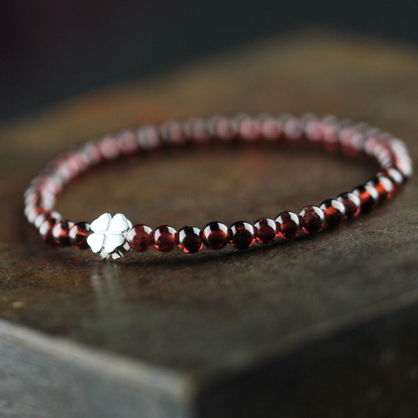 Sterling Silver Garnet Beaded Bracelet Unique Handmade Jewelry for Women