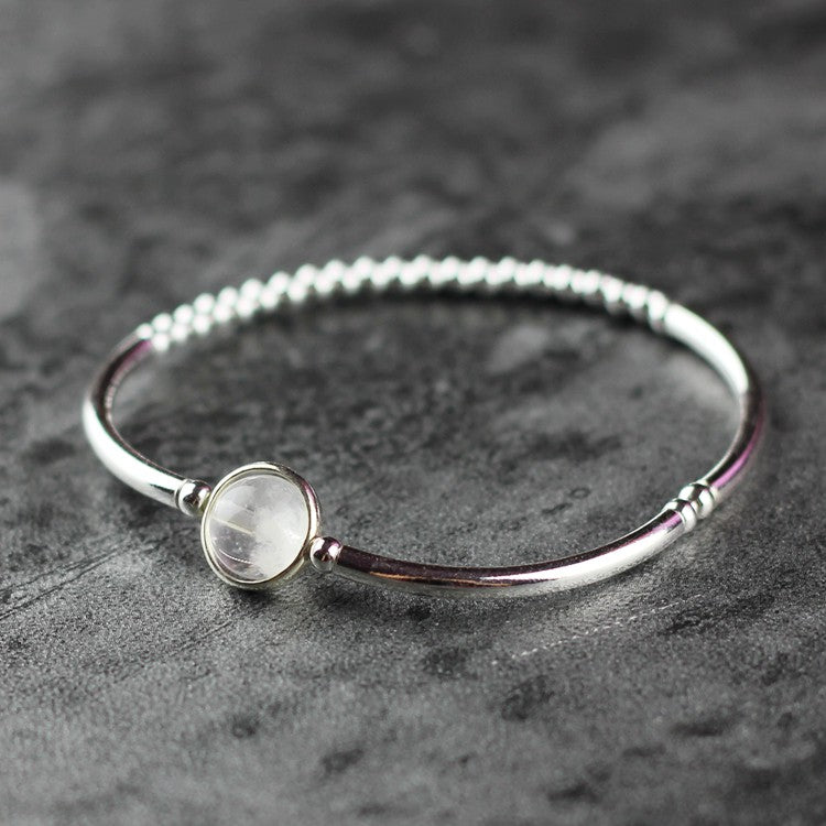 White Quartz Crystl Beaded Bracelet in Sterling Silver Handmade Jewelry Accessories Women