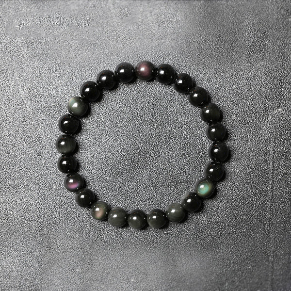 Obsidian Bead Bracelet Handmade Lovers Jewelry Accessories for Women Men