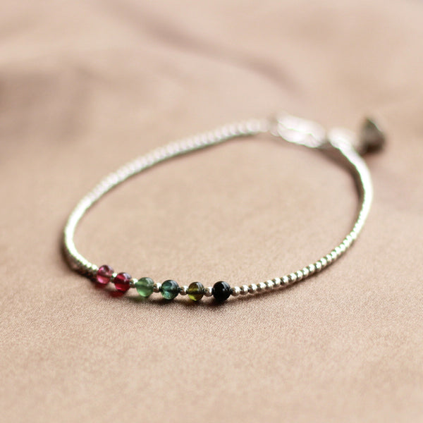 Tourmaline Beaded Bracelet in Sterling Silver Handmade Jewelry Accessories Women