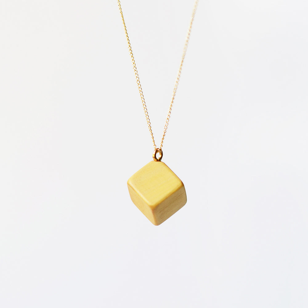 14K Gold Wood Pendant Necklace Handmade Jewelry Accessories Women