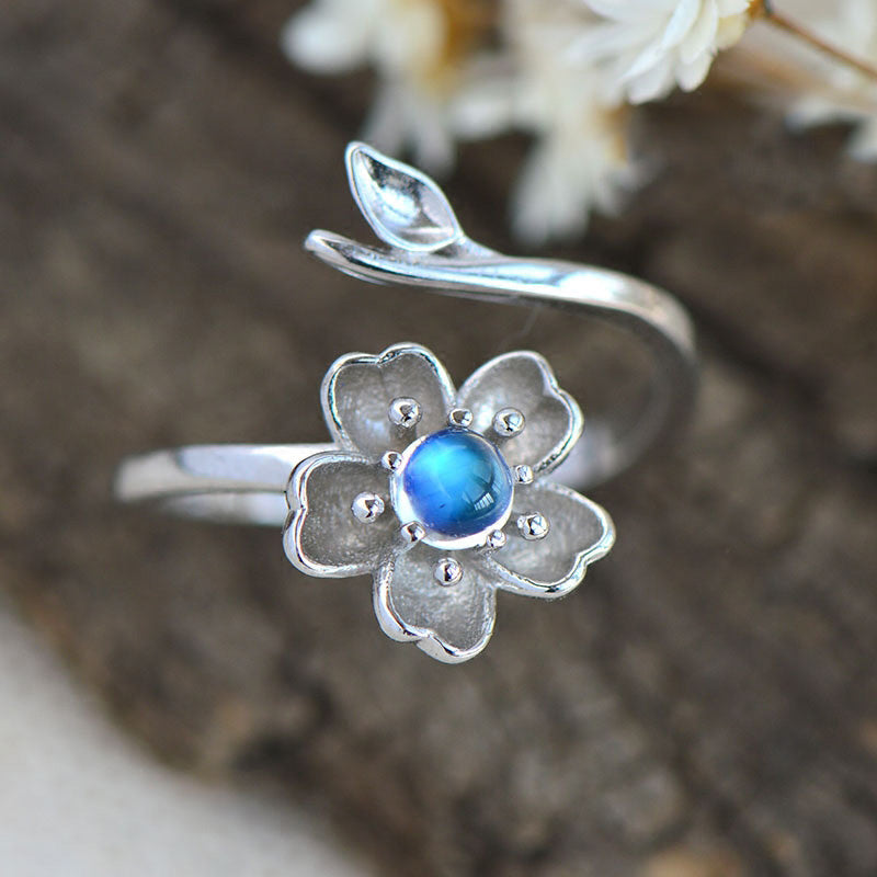 Moonstone Ring in White Gold Plated Silver Handmade Jewelry Engage Ring for Women