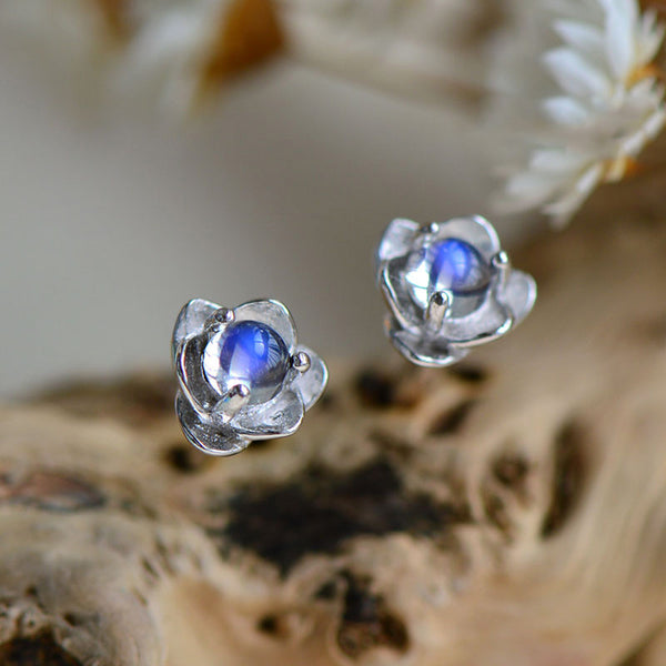 Moonstone Lotus Stud Earrings in White Gold Plated Sterling Silver Jewelry for Women