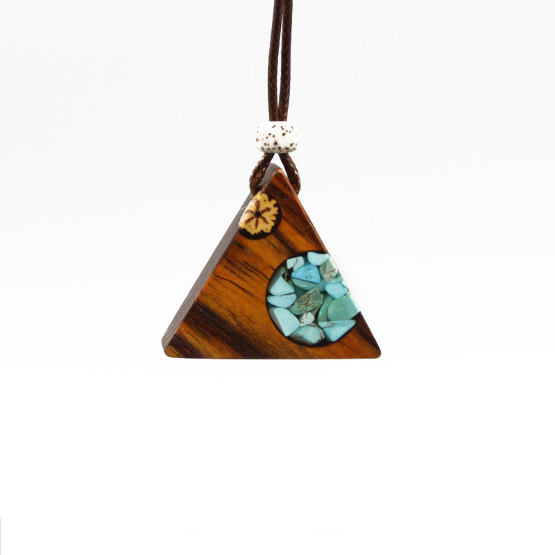 72ff781defce19 Turquoise Wood Resin Pendant Necklace Handmade December Birthstone Jewelry  For Women Men