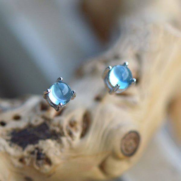 Blue Topaz Stud Earrings in Sterling Silver November Birthstone Handmade Jewelry women