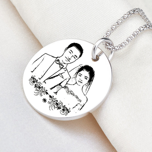Customized Sterling Silver Pendant Necklace For Lovers
