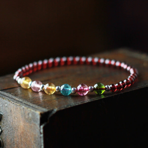Garnet Silver Tourmaline Beaded Bracelet Handmade Birthstone Jewelry for Women