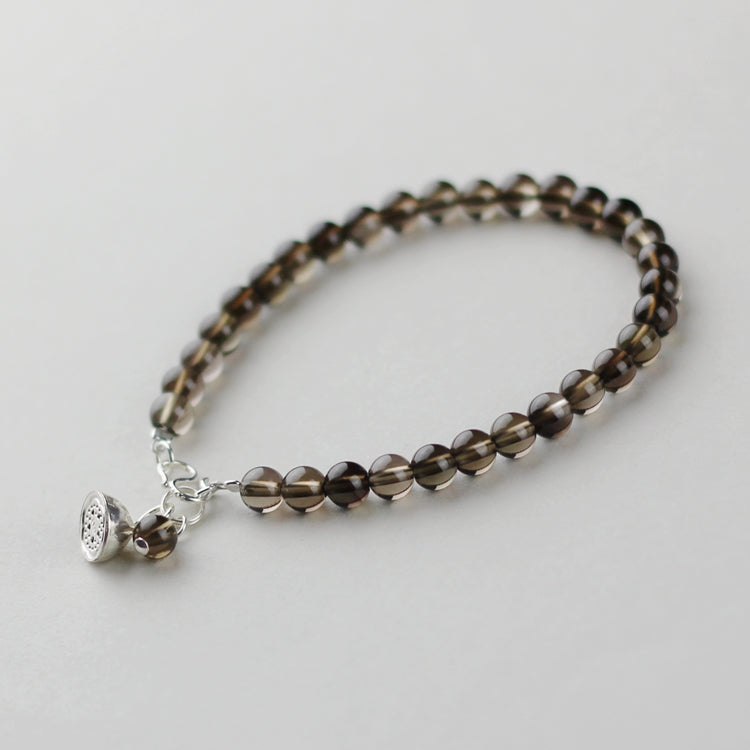 Sterling Silver Smoky Quartz Crystal Beaded Bracelet Handmade Jewelry Women