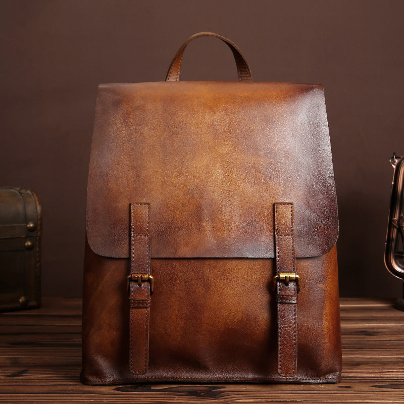 vintage leather backpack bag women laptopbag school bags