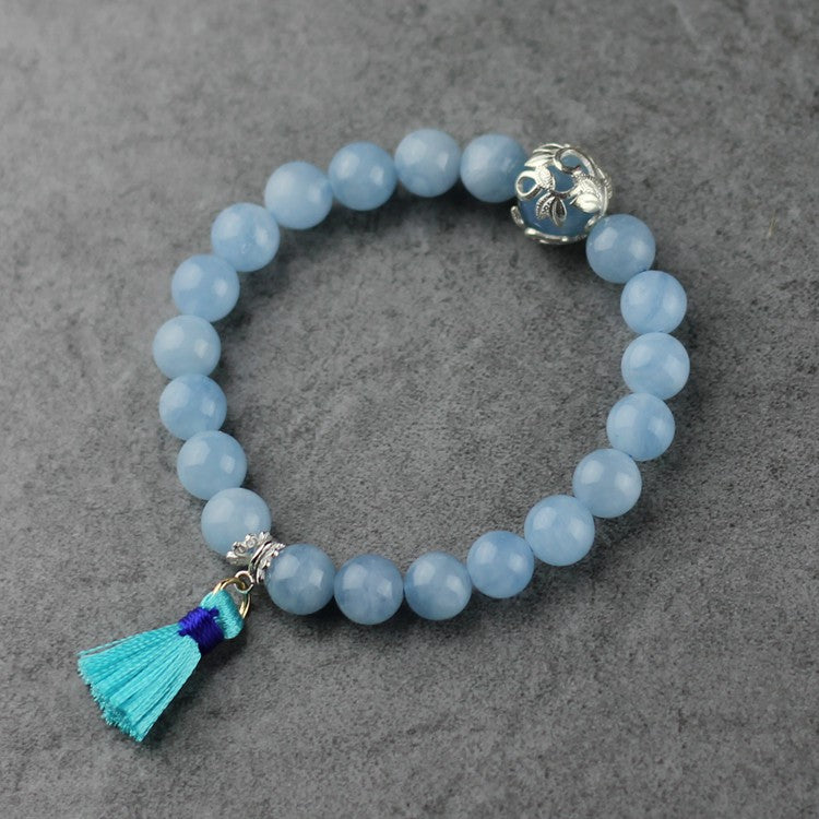 Aquamarine Sterling Silver Beaded Bracelet Handmade Jewelry for Women