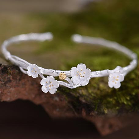 Sterling Silver Flower Bangle Bracelets Unique Jewelry Accessories Gifts For Women