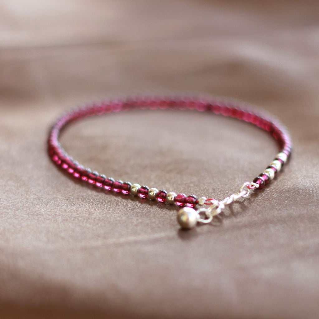 Sterling Silver Garnet Beaded Anklet Handmade Jewelry Accessories Gifts for Women
