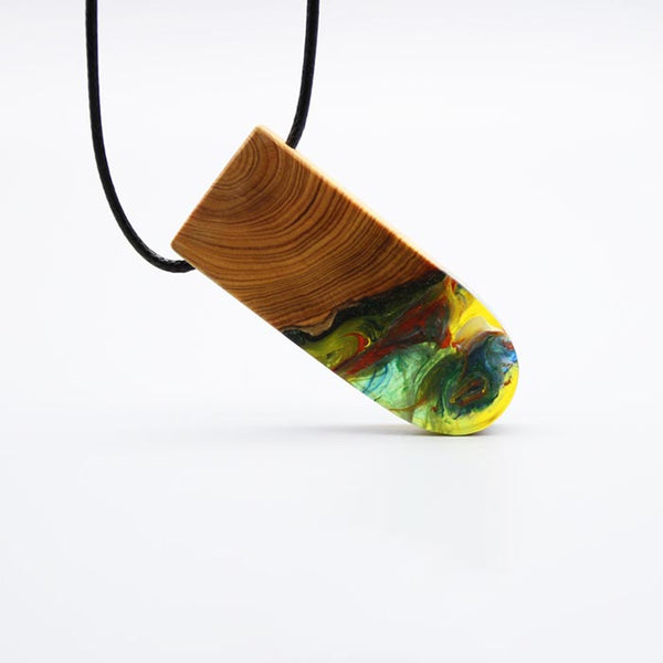 Wood and Resin Pendant Necklace Handmade Unique Jewelry For Women Men