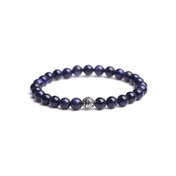 Sterling Silver Obsidian Agate Blue Sandstone Bead Bracelet Jewelry Accessories Women Men