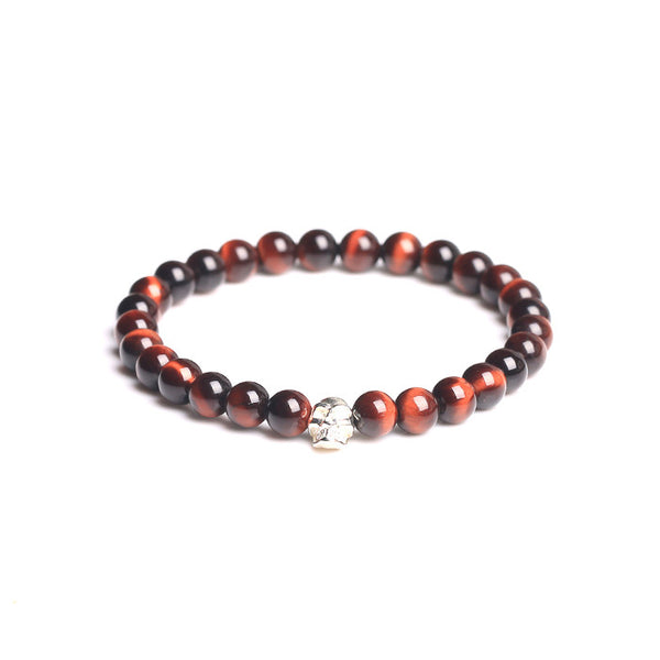 Sterling Silver Red Tigereye Bead Bracelet Jewelry Accessories Men Women