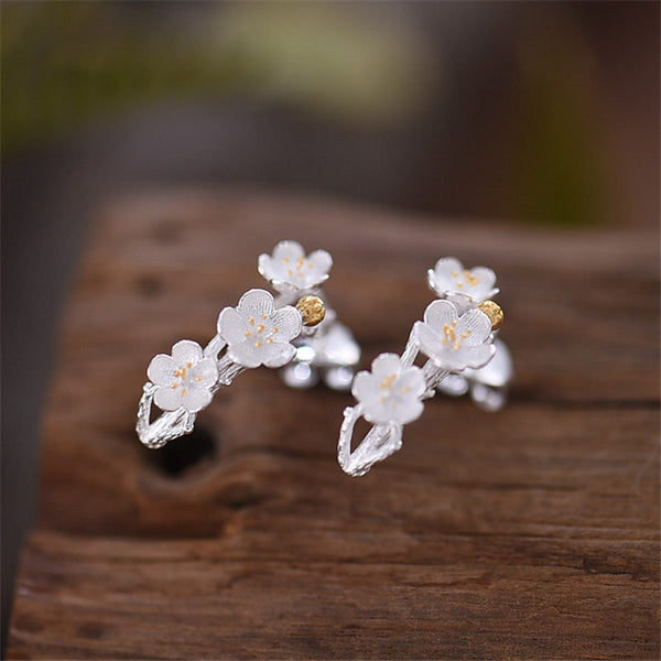 Sterling Silver Flower Stud Earrings Handmade Jewelry Gifts Women