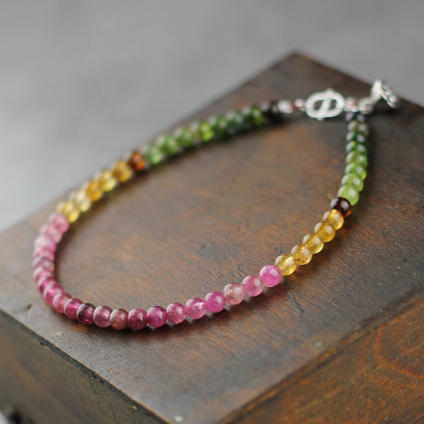 Sterling Silver Tourmaline Beaded Anklet Handmade Jewelry Accessories Women