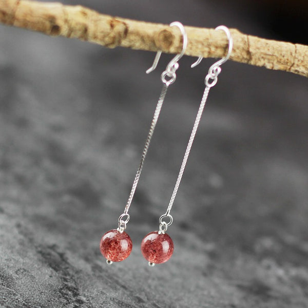 Sterling Silver Strawberry Quartz Crystal Drop Earrings Handmade Jewelry for Women